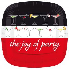 """Plato de Carton Cuadrado """"Joy of Party"""" 230mm (8 Uds)"""