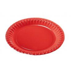 Plato de Carton Redondo Rojo 230mm (300 Uds)