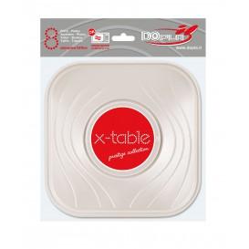 Plato de Plastico Cuadrado Perla PP 180mm (8Uds)