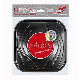 Plato de Plastico Cuadrado Negro PP 180mm (120 Uds)