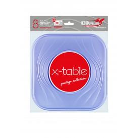 Plato de Plastico Cuadrado Violeta PP 230mm (8 Uds)