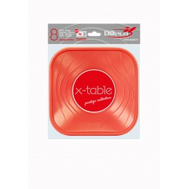 Plato de Plastico Cuadrado Naranja PP 180mm (120 Uds)