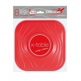 Plato de Plastico Cuadrado Rojo PP 180mm (120 Uds)
