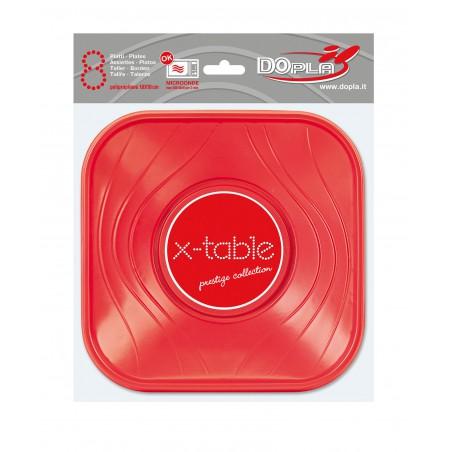 Bol de Plastico Cuadrado Rojo PP 180x180mm (112 Uds)