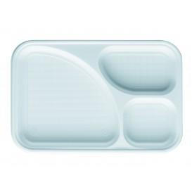 Bandeja de Plastico PS Blanca 3C 315x210mm (100 Uds)
