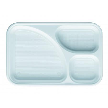 Bandeja de Plastico PS Blanca 3C 315x210mm (400 Uds)