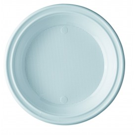 Plato de Plastico PS Hondo Blanco 205 mm (100 Uds)