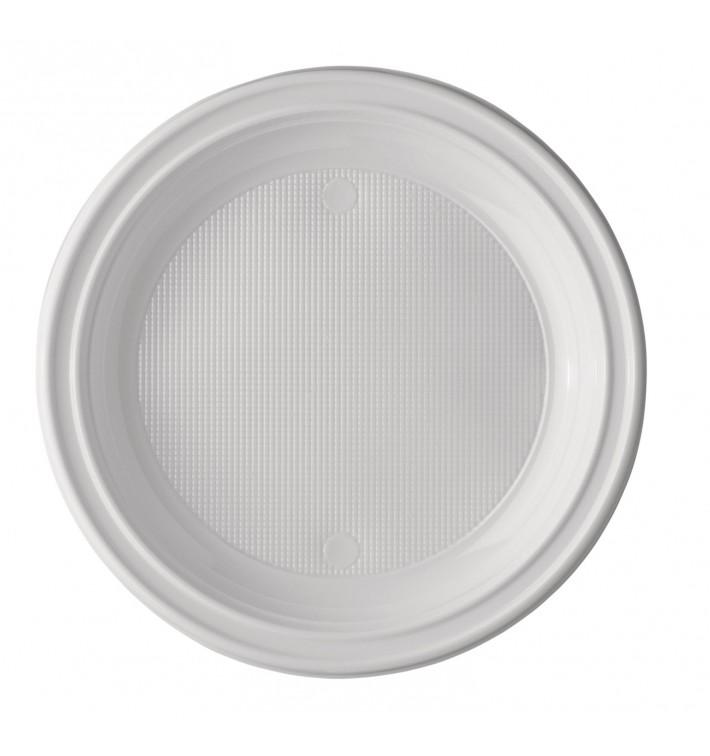 Plato de Plastico PS Hondo Blanco 220 mm (100 Uds)