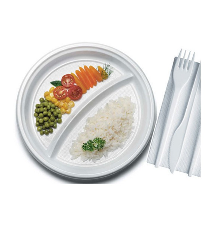 Plato de Plastico Blanco PS 220 mm (1400 Uds)