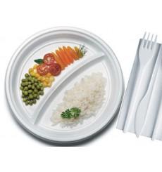 Plato de Plastico Blanco 2 Compartimentos PS 220mm (100 Uds)