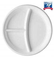 Plato de Plastico PS 3 Compartimentos 220mm (100 Uds)
