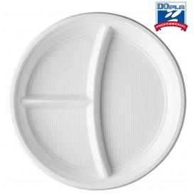 Plato de Plastico Blanco 2 Compartimentos PS 220mm (1400 Uds)