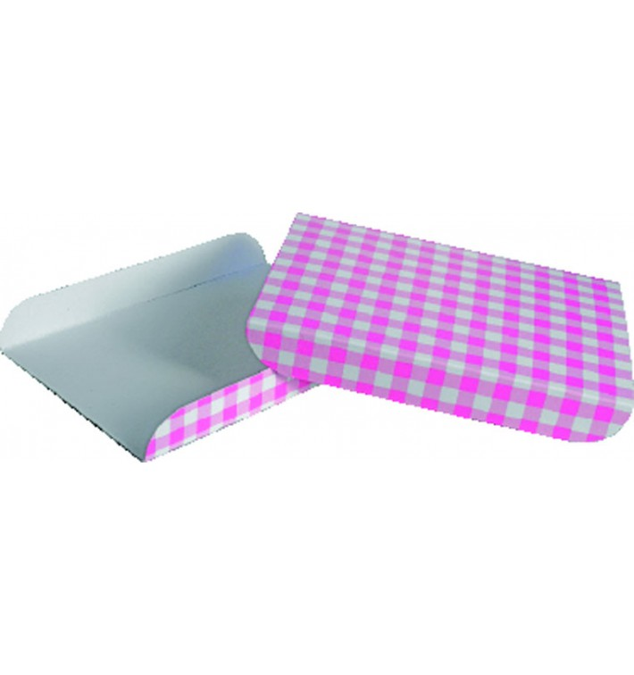 Bandeja de Carton Rosa para Gofres 13,5x10cm (100 Uds)