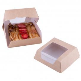 Caja de Carton Kraft con Ventana 140x140x50mm (250 Uds)
