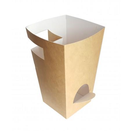 Caja Cartón Para Churros con Chocolate Kraft 78x78x179mm (25 Uds)