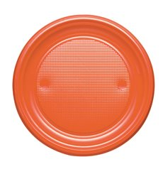 Plato de Plastico PS Llano Naranja Ø170mm (50 Uds)