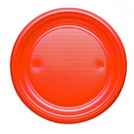 Plato de Plastico PS Llano Naranja Ø170mm (1100 Uds)