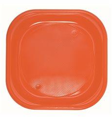 Plato de Plastico PS Cuadrado Naranja 200x200mm (720 Uds)
