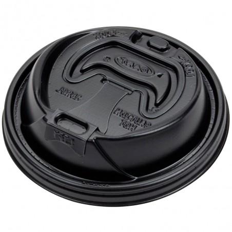 Tapa Travel Recerrable PS para Vaso Foam Negra Ø9,4cm (100 Uds)