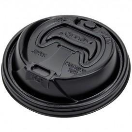 Tapa Agujero con cierre PS para Vaso FOAM Negro Ø94mm (1000 Uds)