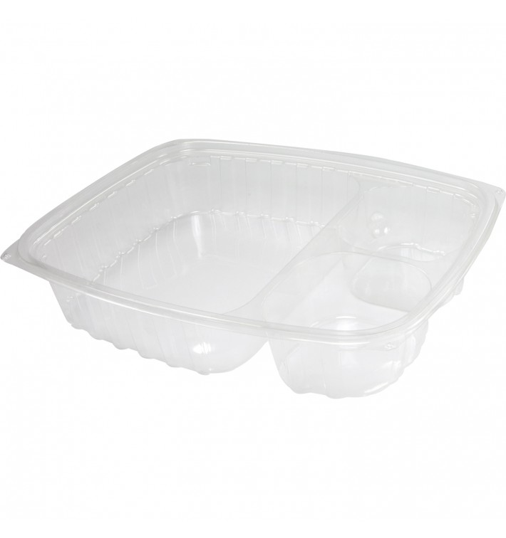 """Envase de Plastico PS """"Clear Pac"""" 3 C. Transp. 887ml (63 Uds)"""