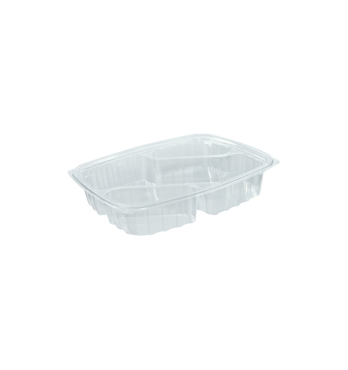 "Envase de Plastico PS ""Clear Pac"" 3 C. Diagonal Transp. 887ml (63 Uds)"