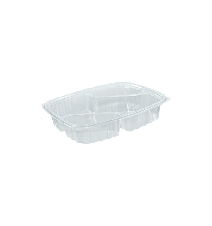 """Envase de Plastico PS """"Clear Pac"""" 3 C. Diagonal Transp. 887ml (252 Uds)"""