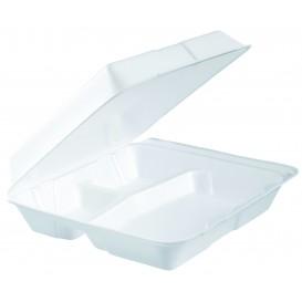 Envase Foam Grande 3C. Tapa Removible Blanco 240x235mm (100 Uds)