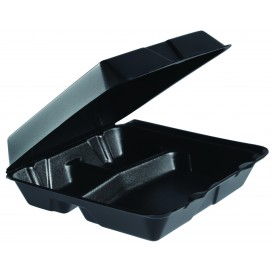 Envase Foam MenuBox Grande 3 C. Negro 240x235mm (200 Uds)