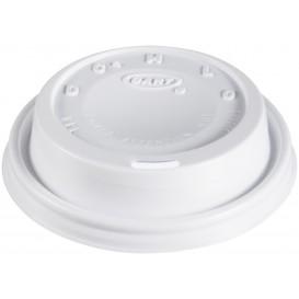 "Tapa de Plastico PS ""Cappuccino"" Blanca 8Oz/240 ml (100 Uds)"