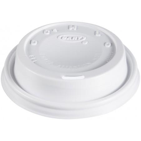 """Tapa de Plastico PS """"Cappuccino"""" Blanca Ø8,1cm (100 Uds)"""