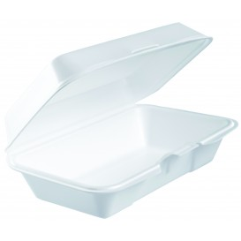 Envase Foam Lunchbox Tapa Removible Blanco 225x140mm (250 Uds)