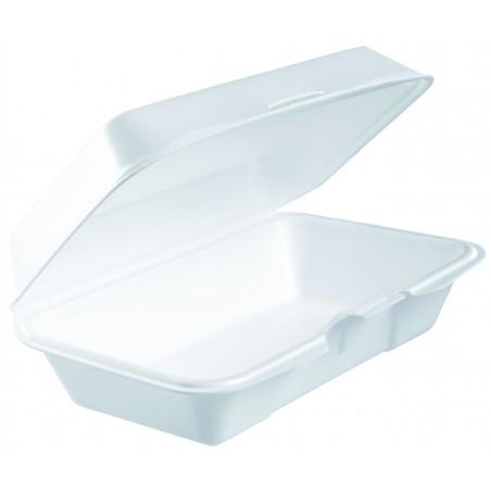 Envase Foam Lunchbox Tapa Removible Blanco 225x140mm (125 Uds)