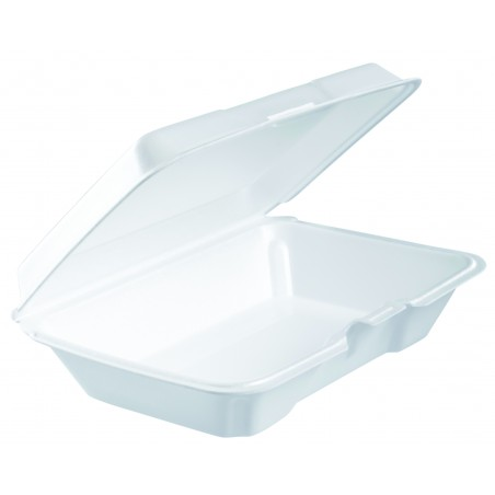 Envase Foam LunchBox Tapa Removible Blanco 230x150X65mm (100 Uds)
