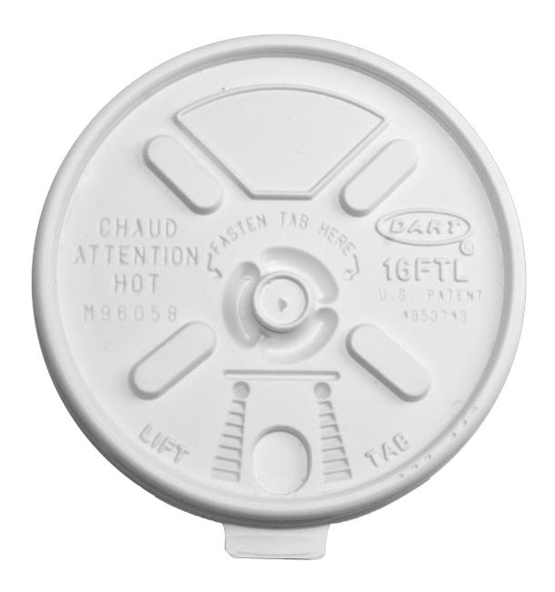 "Tapa de Plastico PS Blanca ""Lift n' Lock"" con solapa Ø (1000 Uds)"