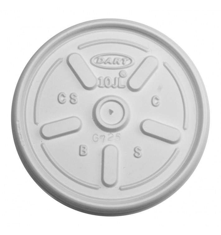 Tapa de plastico PS Blanco con Orificio Ø8,6cm (100 Uds)