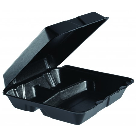 Envase Foam Grande 3C. Tapa Removible Negro 240x235mm (100 Uds)