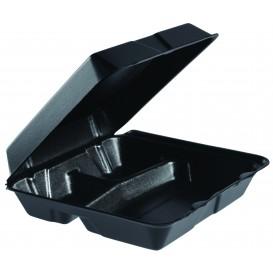 Envase Foam Grande 3C. Tapa Removible Negro 240x235mm (200 Uds)