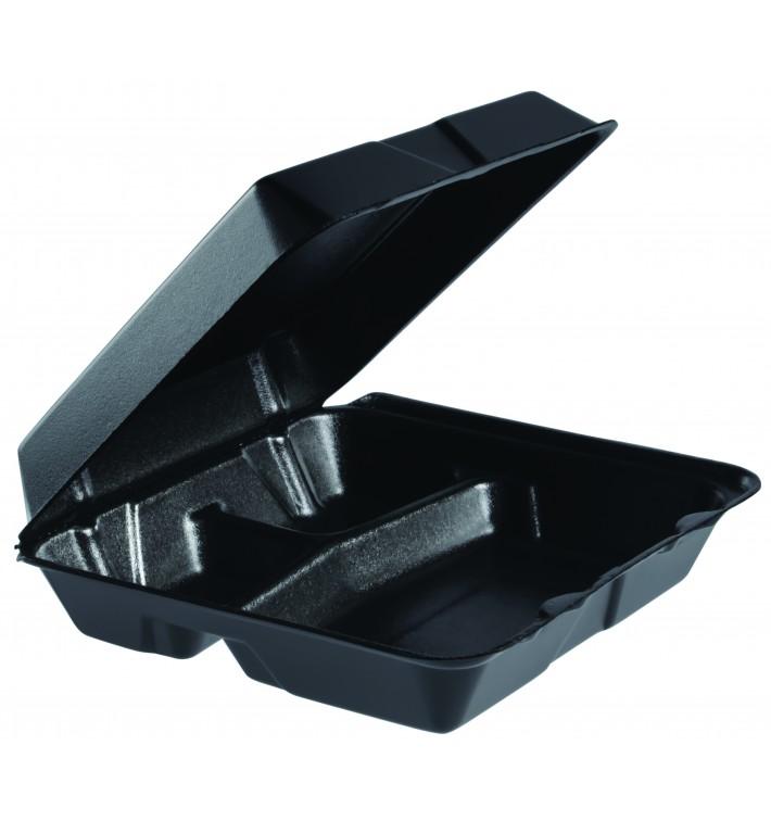 Envase Foam MenuBox 3C. Divisible Negro 240x235mm (200 Uds)