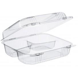 """Envase Plástico OPS 3 C. """"StayLock"""" Bisagra Transp. 830ml (250 Uds)"""