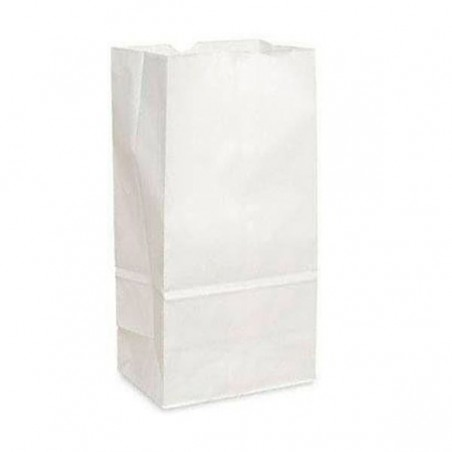 Bolsa de Papel Sin Asas Kraft Blanca 12+8x24cm (50 Uds)