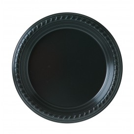 Plato de Plastico Party PS Llano Negro Ø180mm (500 Uds)