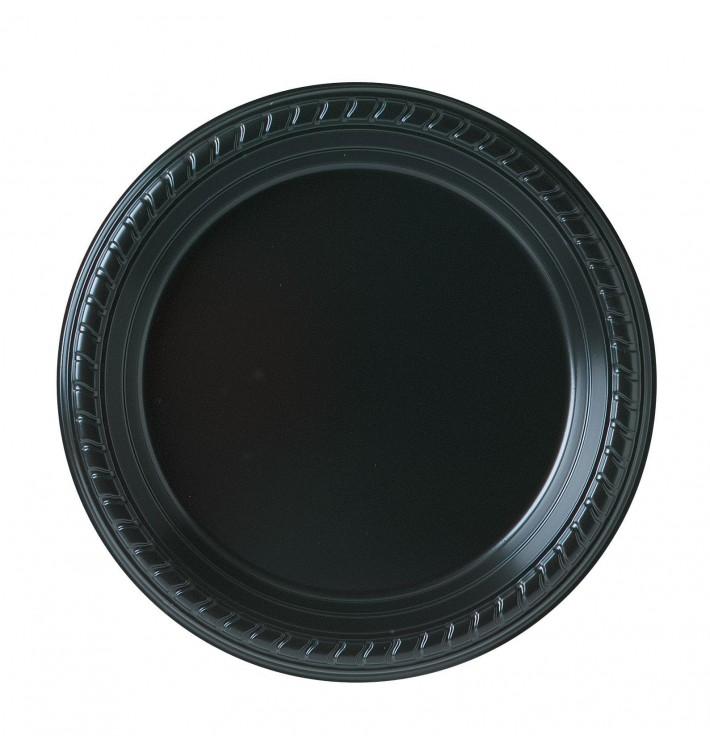 Plato de Plastico Party PS Llano Negro Ø180mm (500 Uds)
