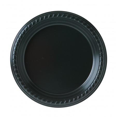 Plato de Plastico Party PS Llano Negro Ø180mm (25 Uds)