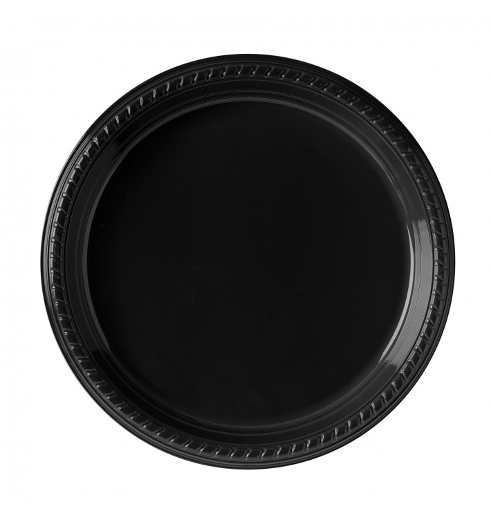 Plato de Plastico Party PS Llano Negro Ø260mm (25 Uds)