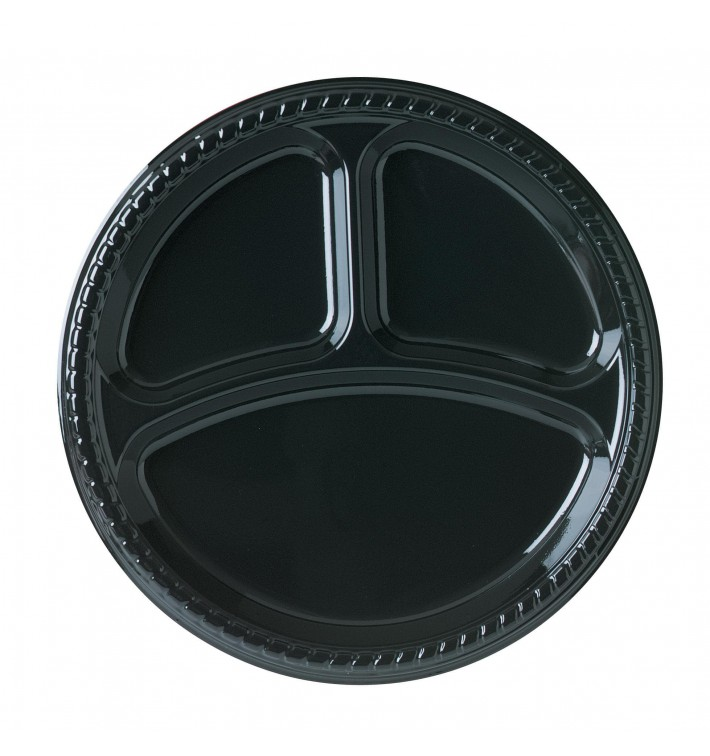Plato de Plastico Party PS Llano Negro 3 compartimentos Ø260mm (25 Uds)