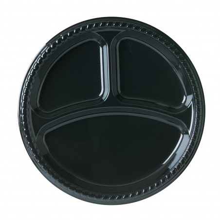Plato de Plastico Party PS Llano Negro 3 compartimentos Ø260mm (500 Uds)