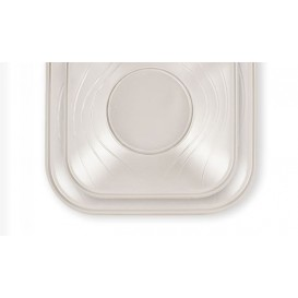 "Plato de Plastico PP ""X-Table"" Cuadrado Perla 230mm (120 Uds)"