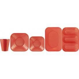 "Plato de Plastico PP ""X-Table"" Cuadrado Naranja 230mm (120 Uds)"