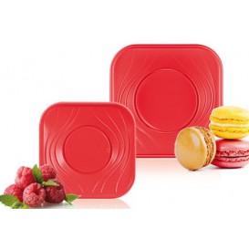 """Plato de Plastico PP """"X-Table"""" Cuadrado Rojo 180mm (120 Uds)"""